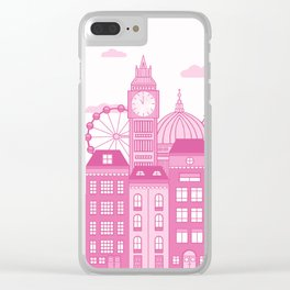 London Skyline Pink Clear iPhone Case