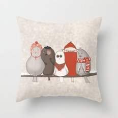Sticky birds Throw Pillow
