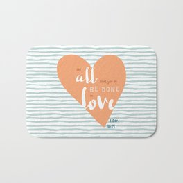"""All in Love"" Hand-Lettered Bible Verse Bath Mat"