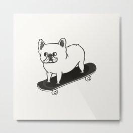 Skateboarding French Bulldog Metal Print