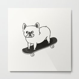 Skateboarding French Bulldog Metal Print