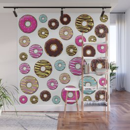 Donut Pattern, Colorful Donuts - Pink Blue Yellow Wall Mural