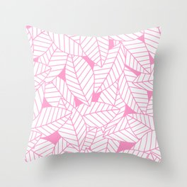 Leaves in Flamingo Throw Pillow