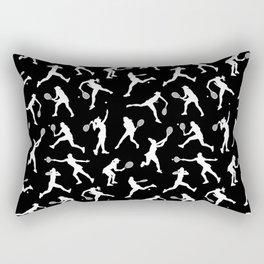 Tennis Players // Black Rectangular Pillow
