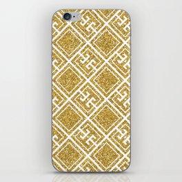 Gold Glitter Greek Pattern iPhone Skin