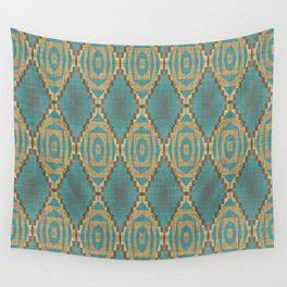 Teal Turquoise Caramel Coffee Brown Rustic Native American Indian Cabin Mosaic Pattern Wall Tapestry