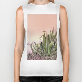 Agave in the Garden on Pastel Coral Biker Tank