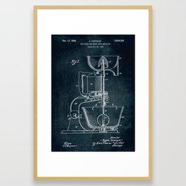 1932 - Food mixer and fruit juice extractor patent art Framed Art Print