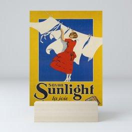 old placard savon sunlight la joie dans la Mini Art Print