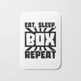 Eat, sleep, box, repeat Bath Mat