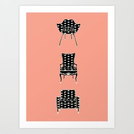 Cat Chairs Art Print