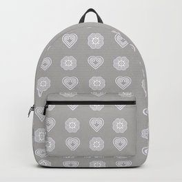 Gray heart and elephant foot symbols Backpack