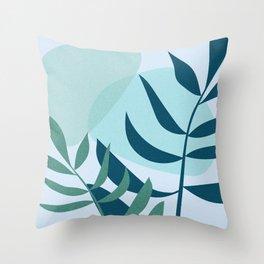 Botanical Blue Throw Pillow