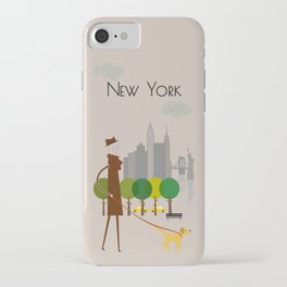 New York - In the City - Retro Travel Poster Design iPhone Case