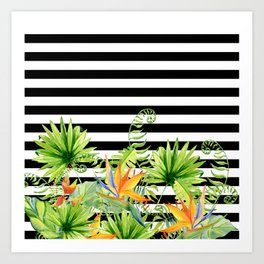 Tropical Chic Florals And BW Stripes Art Print