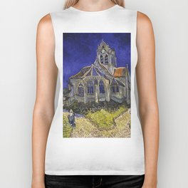 The Church at Auvers by Vincent van Gogh Biker Tank