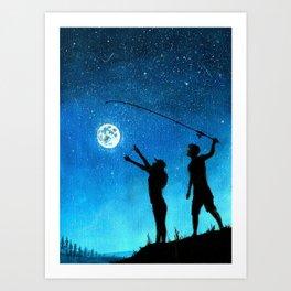 Moon Fishing Art Print