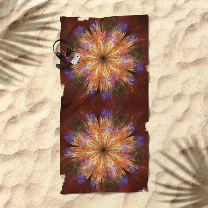 Artistic fantasy flower in summer colors Beach Towel