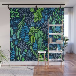 Watercolor floral doodles dark background Wall Mural