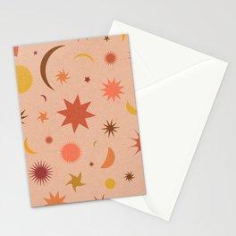 Celestial Sky in Grainy Peach Stationery Cards