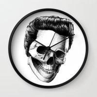 elvis presley Wall Clocks featuring Elvis Presley by Motohiro NEZU