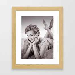 """Curlers Before Bed"" - The Playful Pinup - Lounging in Lace Pin-up Girl by Maxwell H. Johnson Framed Art Print"