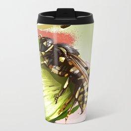 Wasp on flower 6 Metal Travel Mug
