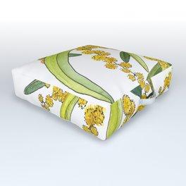 Australian Wattle Flower, Illustration Outdoor Floor Cushion