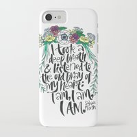 sylvia plath iPhone & iPod Cases featuring Hand-lettered Sylvia Plath quote with flowers by to florence with love