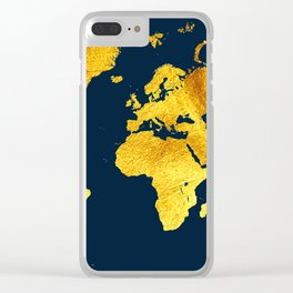 Royal Blue and Gold Map of The World - World Map for your walls Clear iPhone Case
