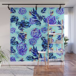 blue indigo purple gold turquoise floral pattern Wall Mural