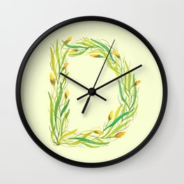 Leafy Letter D Wall Clock
