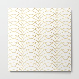 Art Deco Series - Gold & White Metal Print