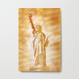 NEW YORK CITY Statue of Liberty with American Banner | abstract | golden painting Metal Print