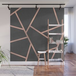 Dark Grey and Rose Gold Textured Fragments - Geometric Design Wall Mural
