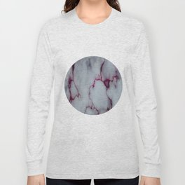 White with Maroon Marbling Long Sleeve T-shirt
