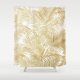 Elegant faux gold glitter tropical plants pattern  Shower Curtain
