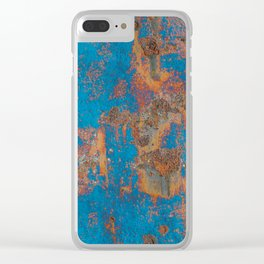 Rust on blue background Clear iPhone Case