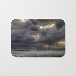 Ray of light through the clouds above the Mediterranean sea, Tel-Aviv, Israel Bath Mat