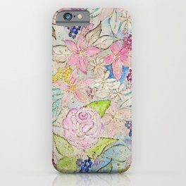 Watercolor and gold floral hand paint design iPhone Case