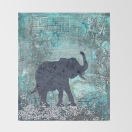 Majestic Series: Turquoise and silver Throw Blanket