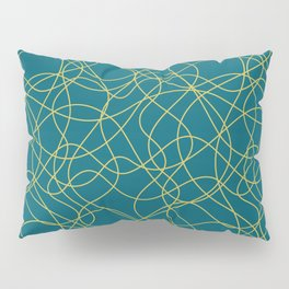 Dark Yellow Scribbled Lines Abstract Hand Drawn Mosaic on Tropical Dark Teal Inspired by Sherwin Williams 2020 Trending Color Oceanside SW6496 Pillow Sham