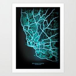 Bridgetown, Barbados, Blue, White, Neon, Glow, City, Map Art Print
