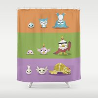 digimon Shower Curtains featuring Hey Digimon, hey Digimon!  by Sindorman