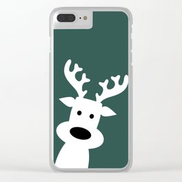 Reindeer on green background Clear iPhone Case