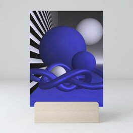 knots and spheres - blue Mini Art Print