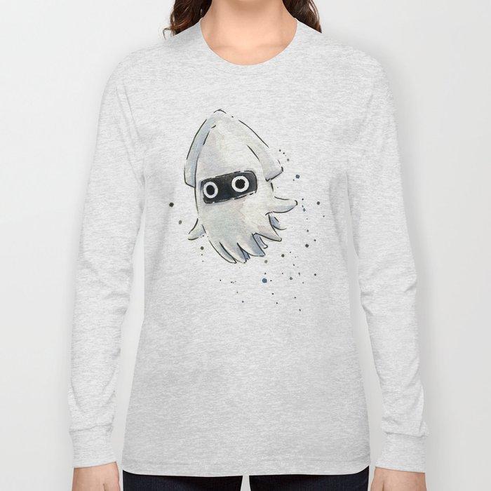 Blooper Squid Mario Watercolor Geek Art Long Sleeve T-shirt