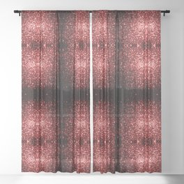 Beautiful Glamour Red Glitter sparkles Sheer Curtain