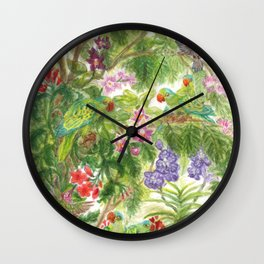 Birds and Orchids Tropical Rainforest II Wall Clock