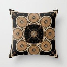 Tribal Gathering (Black) Throw Pillow